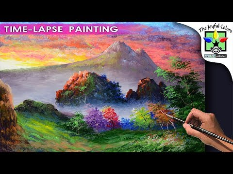 Learn Basic Acrylic Painting Landscape with Sunrise in the Rocky Mountains and Autumn trees | ART