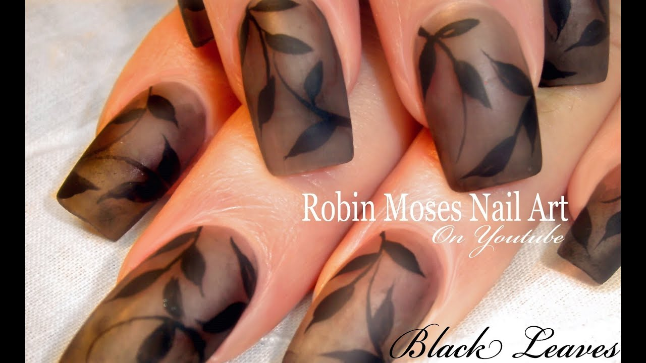 Nail Art Diy Matte Black Polish Nails Design Tutorial Youtube