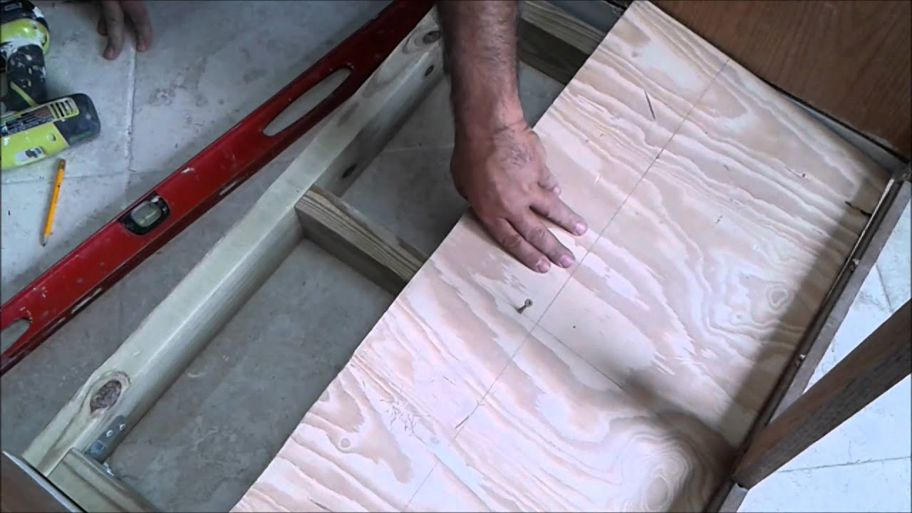 Kitchen sink cabinet bottom wood floor replacement with ...