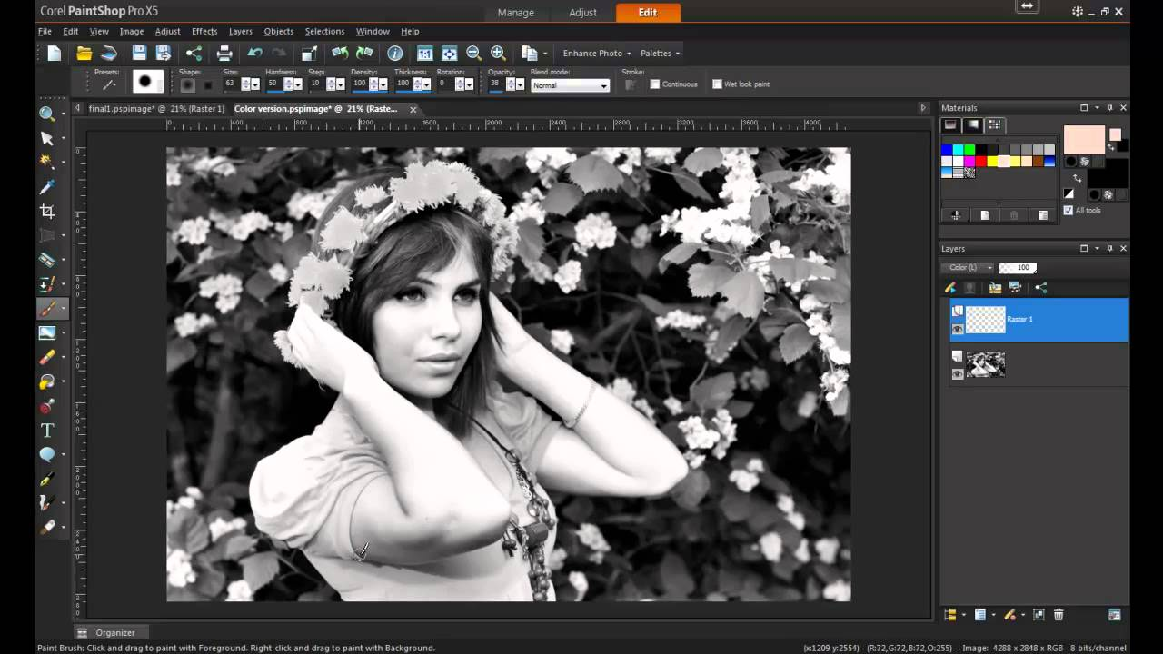 adding color to a black and white photo in paintshop pro