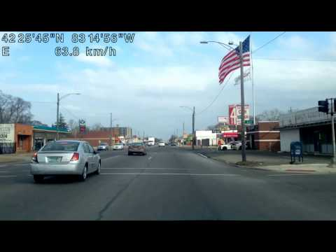 Driving along 7 Mile Road in Detroit, Michigan (round trip between Appoline Street & Lahser Road)