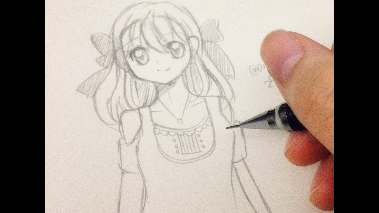 How to draw a manga girl step by step in slow tutorial youtube