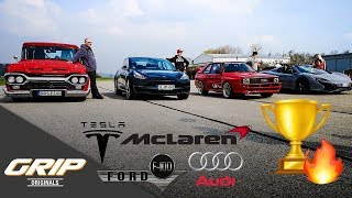 Spin & Go Race: McLaren 650 S, Audi Quattro, Tesla Model 3, Ford F100 [3/4] | GRIP Originals