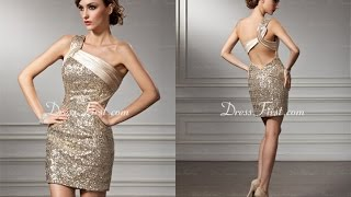 Top 100 Gold cocktail dresses, short prom dresses for women