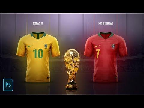 FIFA World Cup 2018 Jersey Design and Poster Design in Photoshop CC 2018 - Speedart