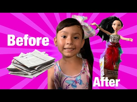 👗DIY Barbie Dress Out Of Newspaper 🗞