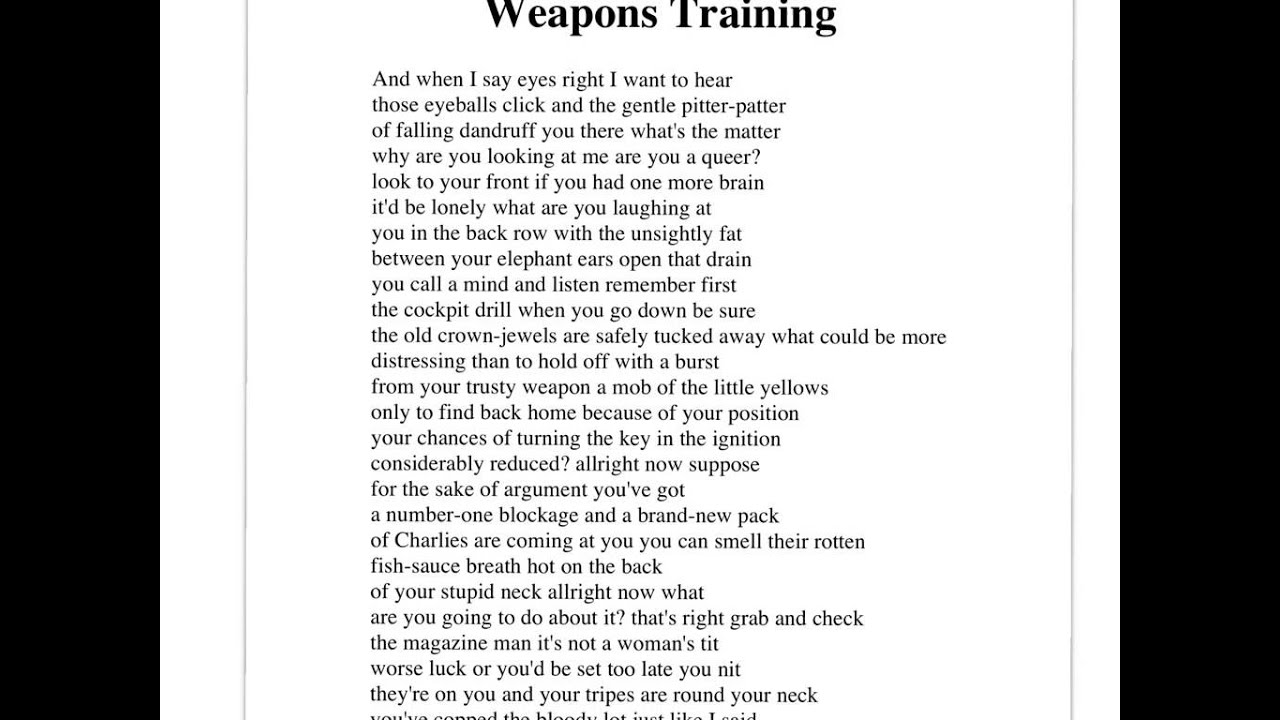 poem weapons training essay facts sheet Investment development path dissertation sheet era of weapons training bruce dawe essay on katrina poem for year 9 pages bruce dawe and custom writing.