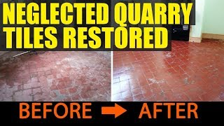 Neglected Quarry Tiled Floor Restoration in Langford