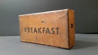 1945 US K Ration Breakfast MRE Review 70 Year Old Pork & Eggs Meal Ready To Eat Unboxing