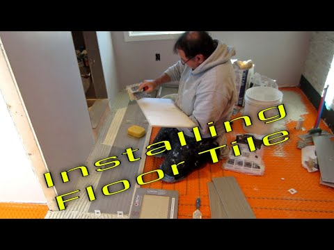 Steam Shower Part 8 Installing floor tile with T-Lock, and grouting