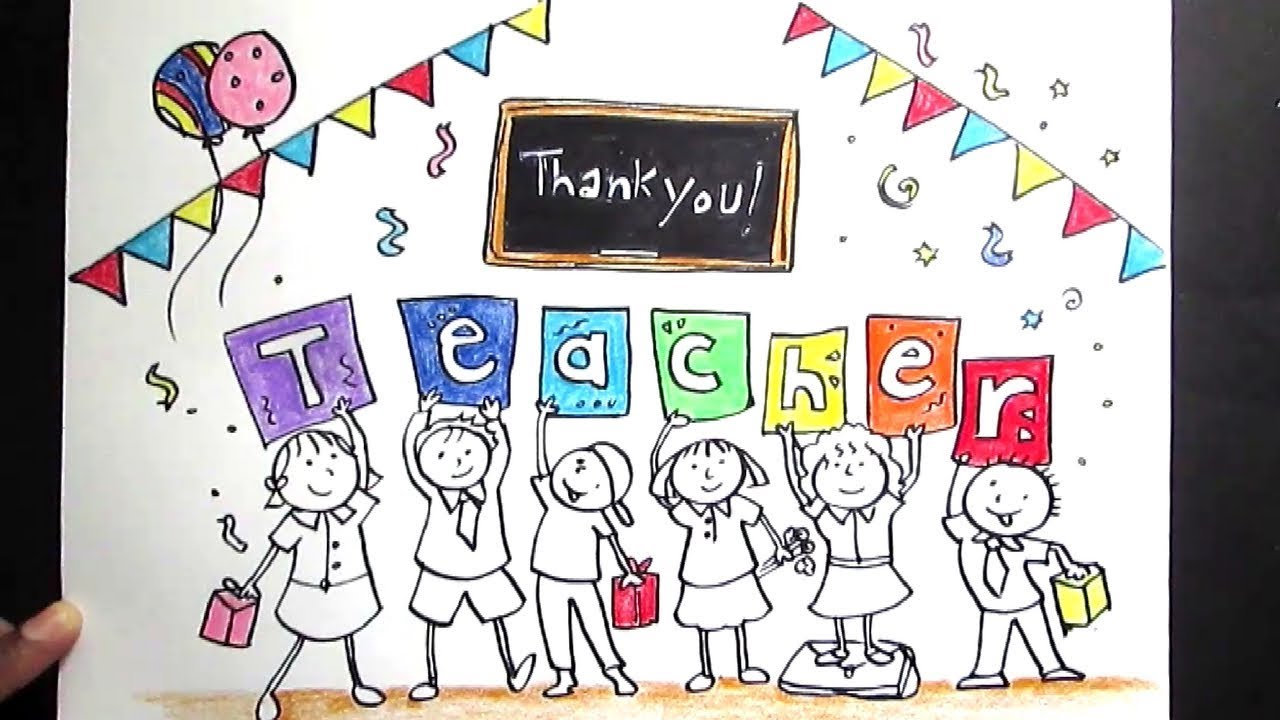 Creative drawing happy teachers day for kids teachers day drawing for kids