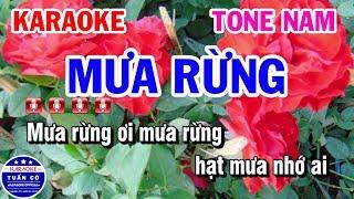 Karaoke Mưa Rừng | Nhạc Sống Tone Nam Tuấn Cò Karaoke