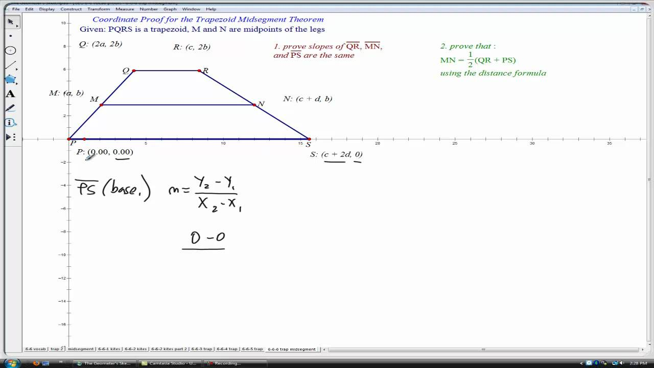 midsegment theorem for trapezoid (geometry) - YouTube