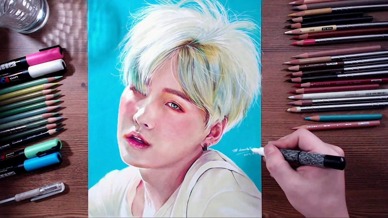 Bts Suga Colored Pencil Drawing Drawholic Youtube