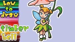 How To Draw A Cartoon Tinkerbell - learn to draw - drawing lessons - Disney Fairies coloring pages