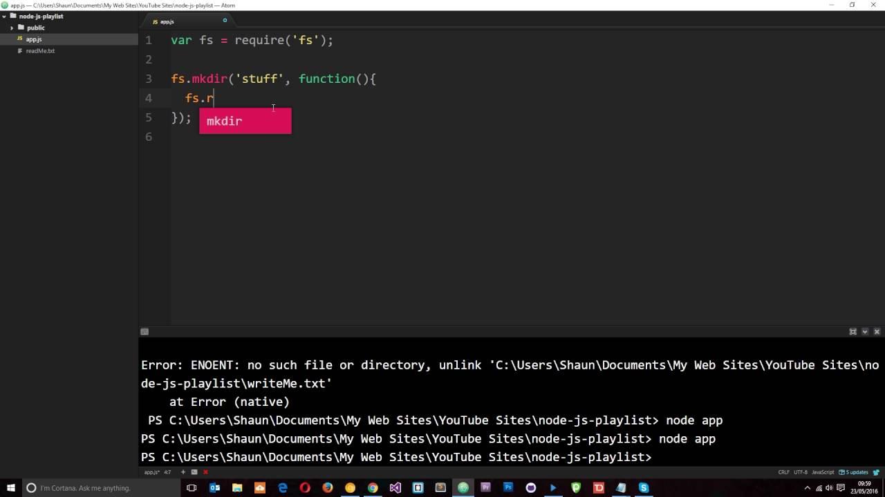 nodejs create directory