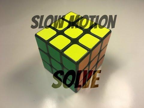 Slow Motion Rubik's Cube Solve