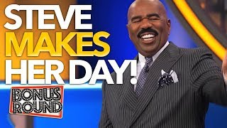 STEVE HARVEY MAKES HER DAY On Family Feud | Bonus Round