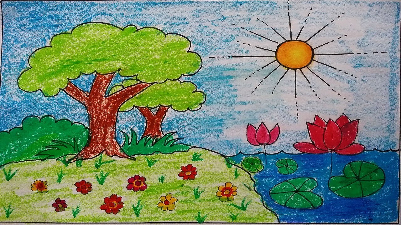 How To Draw Awesome Garden Scenery For Kids, Kids Scenery