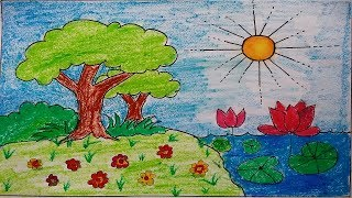 how to draw  awesome Garden Scenery for kids, kids scenery drawing easy, easy drawing