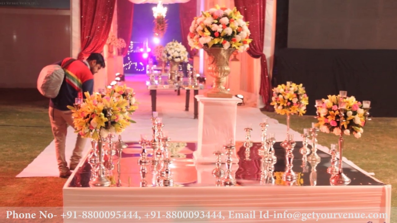 Lavish wedding decor at Chhabra Farms, Delhi - YouTube