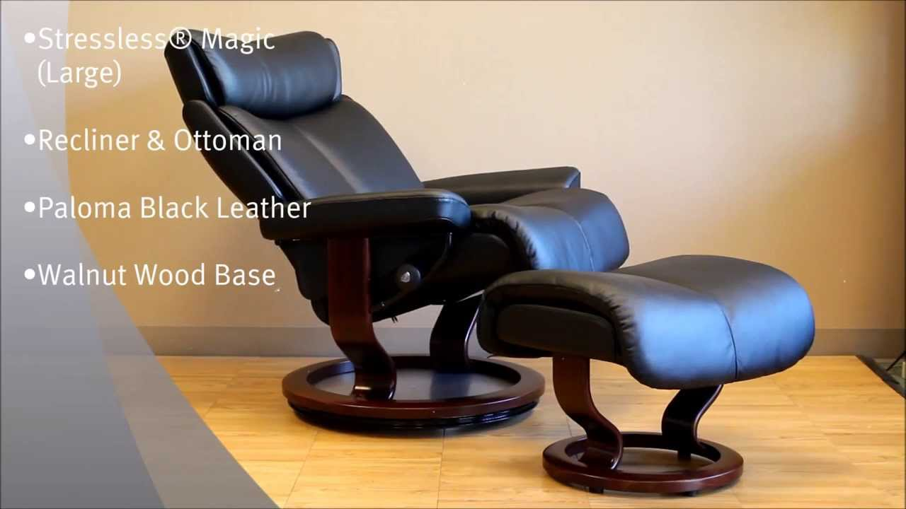 stressless magic recliner and ottoman in paloma black leather and walnut wood base by ekornes youtube