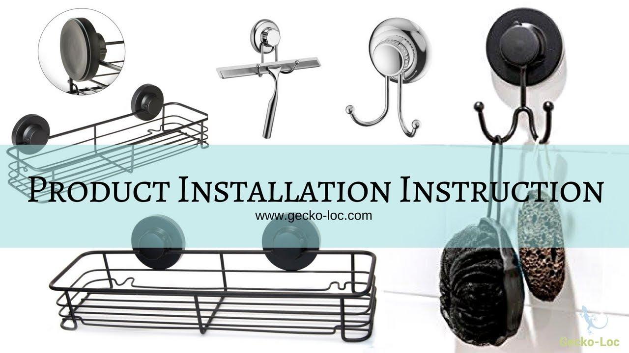 Gecko-Loc Suction Cup Corner Shower Caddy Shelf Installation - YouTube