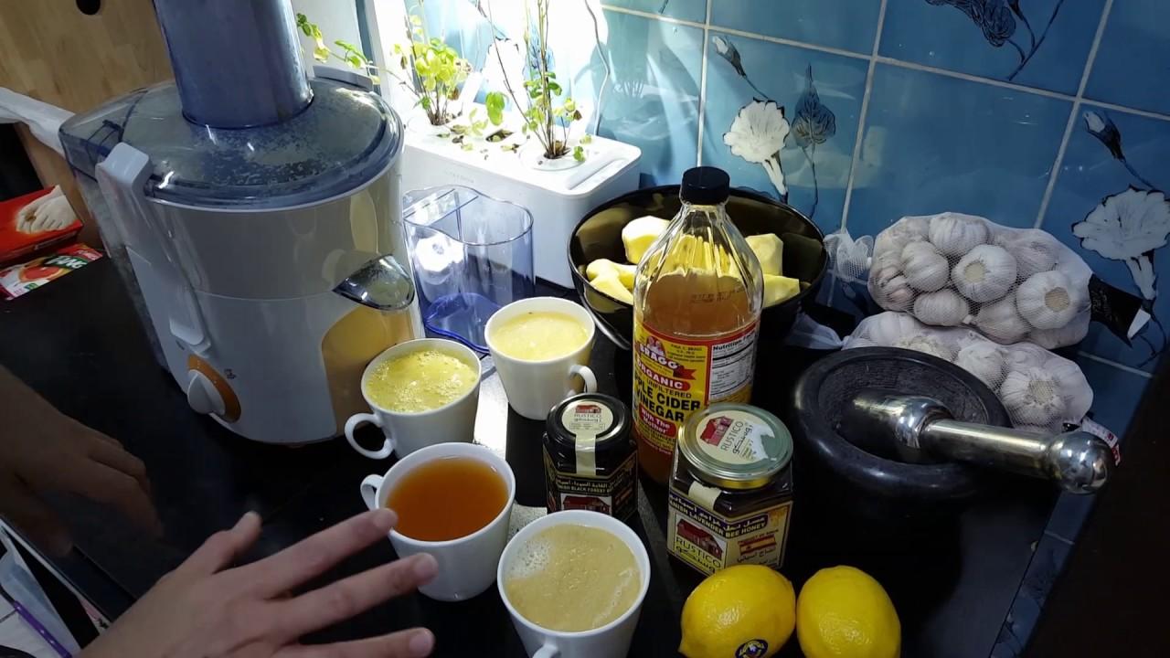 honey-garlic-lemon-ginger-apple cider vinegar concoction