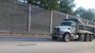 Mack CV713 Granite dump truck, Kenworth T800 mulch truck