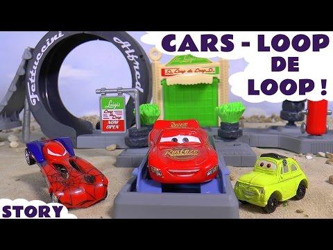 Disney Cars Toys McQueen vs Spiderman Challenge Loop De Loop Radiator Springs Play Set TT4U fun