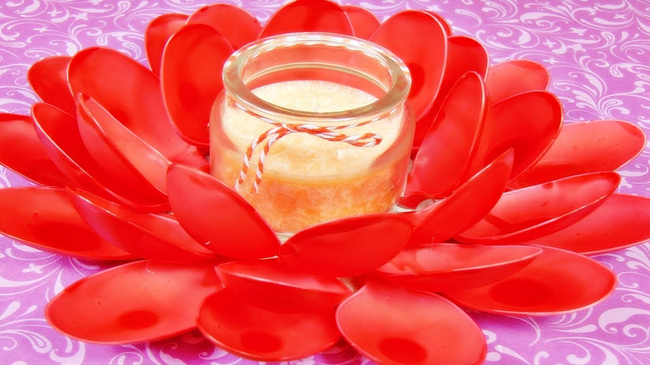 Plastiklöffel Basteln Kerzenhalter Mit Plastiklöffel Diy Flower Tea Light Holder Made Of Spoons