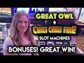 Great Owl and Chili Chili Fire Slot Machines! BONUSES! Nice WIN!!