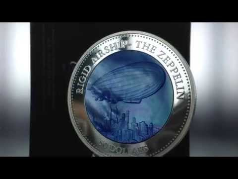Cook Islands Zeppelin Mother of Pearl 5 oz Proof Silver Coin 2013