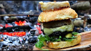 Campfire Cooking: Bone Marrow Cheese Burger.