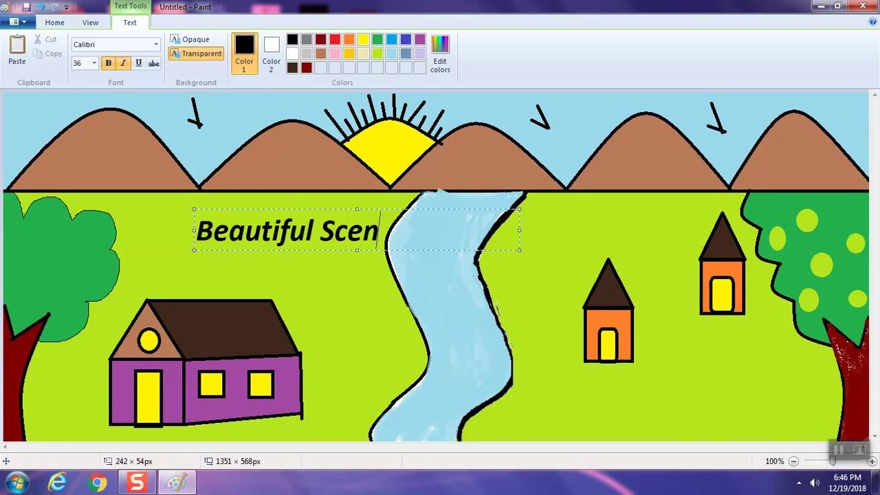 Scenery Demo using MS - Paint - YouTube