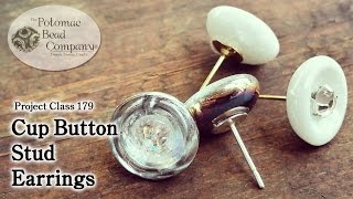 Make Cup Button Stud Earrings