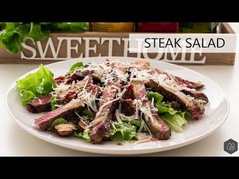 Ribeye steak salad recipe with honey-mustard dressing