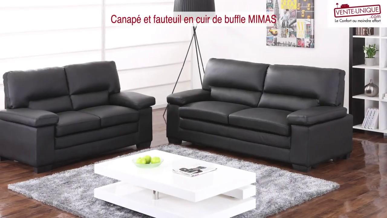 Entretien Canapé Cuir Buffle canapé 3+2 places en cuir de buffle supérieur noir mimas