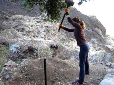 Slamming a 20lb Sledge Hammer - A Woman's Touch