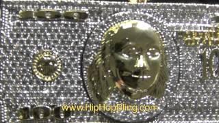 $100 Bills Stacks Micro Pave Hip Hop Pendant Benjamins Gold