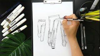 Как рисовать складки на брюках. Урок с Астаховой Еленой. Fashion скетчинг.