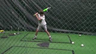 Roman Vick, 6 years old, baseball batting practice