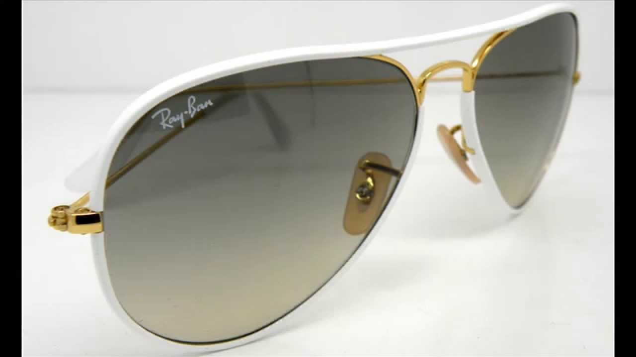 6c619532395 Ray Ban Aviator Full Color RB3025 JM White 太陽眼鏡 - YouTube