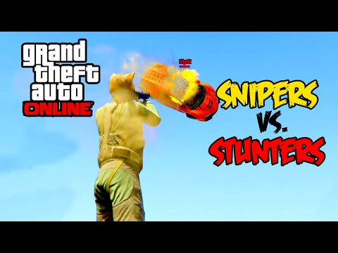 GTA 5 - Modded Snipers vs Stunters!!! Jets, Pantos, & Monster Trucks! (GTA 5 Funny Moments)