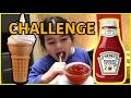 😱😱 Challenge Ketchup avec de la Glace  😅