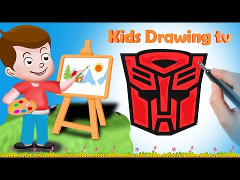 Drawing Autobots Logo Paint And Colouring For Kids | Kids Drawing TV | Superheros