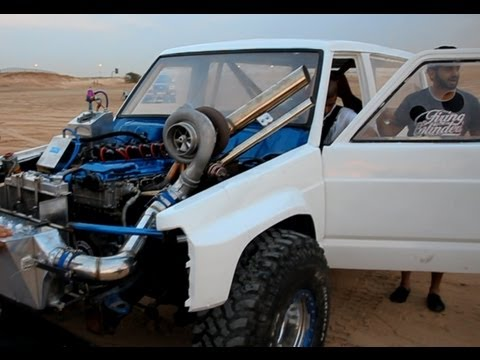 Sand drag race with HUGE turbos!