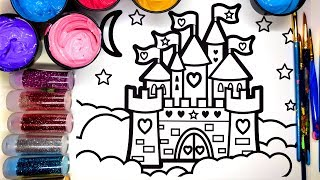 💜 Painting Castle on a Cloud Painting Pages with Glitter, Learn to Color with Paint