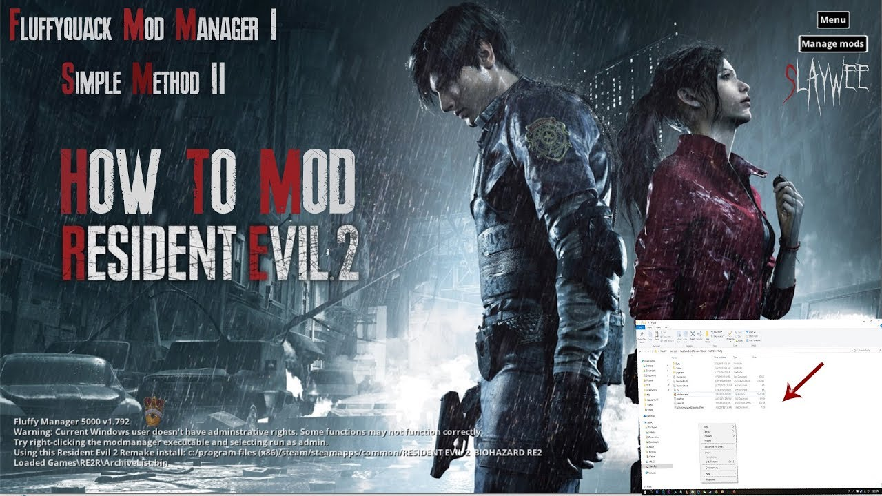 PC How to install MODS in Resident Evil 2 (Fluffy & Normal Method) step by  step with Voice