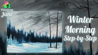 Winter Morning - Step by Step Acrylic Painting on Canvas for Beginners